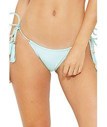 Ljusgrön bikini nedredel med snodda band och tofsar - BOTTOM LISO VERDE FRAIS