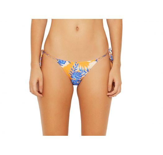 Oransje bikiniunderdel med sidebånd og blomstertrykk - BOTTOM LOLLIPOP SOLAR