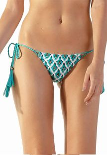 Blue mosaic Brazilian side-tie bikini bottom with tassels - BOTTOM LOLLIPOP ZAGORA