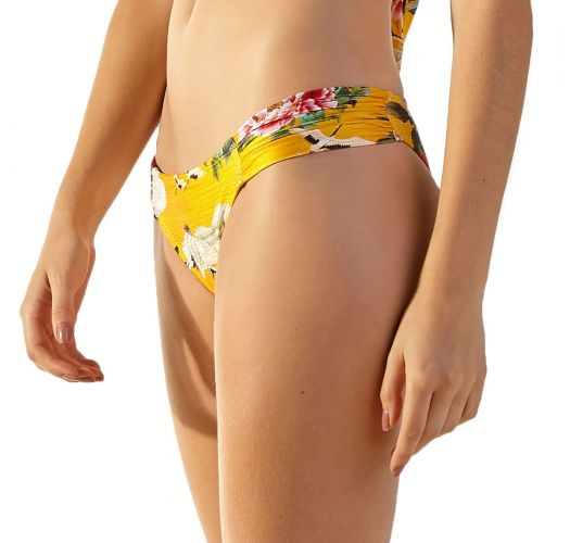 Yellow floral fixed Brazilian bikini bottom - BOTTOM LOTUS XANGAI