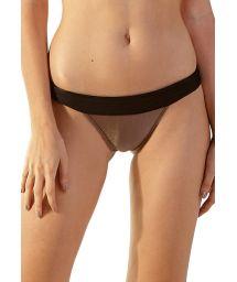 Taupe & black fixed Brazilian bikini bottom - BOTTOM MATELASSE CARAMELO PRETO