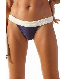 Ecru & navy blue fixed Brazilian bikini bottom - BOTTOM MATELASSE NAVY