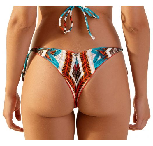 Blue & brown Brazilian scrunch bikini bottom - BOTTOM MEL CHADE