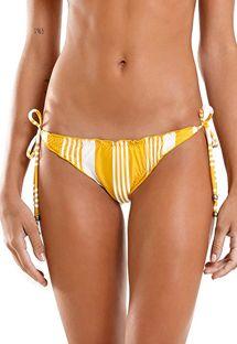 Yellow & white striped Brazilian bikini bottom with wavy edges - BOTTOM MEL NASCA