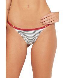 Striped bikini bottom with red edge - BOTTOM NAVY LISTRADO