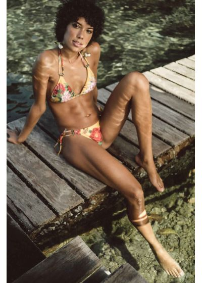 Accessorized yellow floral bikini bottom - BOTTOM NEW PACIFICO XANGAI