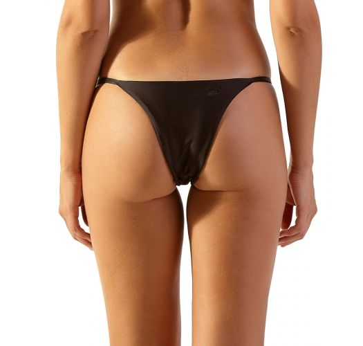 Slim sides black Brazilian bikini bottom with golden details - BOTTOM NIX PRETO