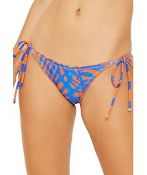 Blue and orange side-tie scrunch bikini bottom - BOTTOM OMEGA CAYENA
