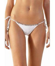 White side-tie bikini bottom with crochet stitching - BOTTOM PONTILHADO BRANCO