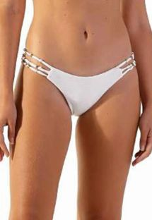 Textured white Brazilian bikini bottom with straps - BOTTOM RAY OFF WHITE