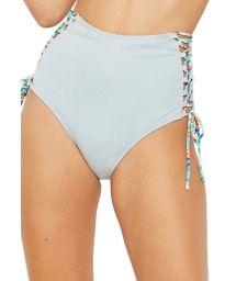 Light grey high-waisted bikini bottom - BOTTOM RECORTE JEANS COLLAGE