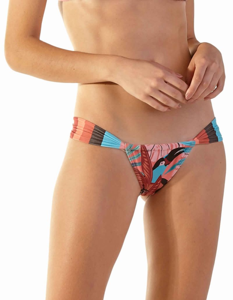 Tanga coulissant taille basse tropical rose - BOTTOM SUPER PALMAR