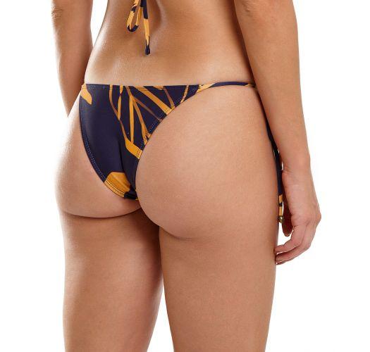 Navy & gold Brazilian bikini bottom - BOTTOM TAHITY BOLD LEAFS