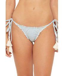 Light grey scrunch bikini bottoms with pompoms - BOTTOM TQC JEANS COLLAGE