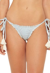 Light grey scrunch bikini bottoms with pompoms - BOTTOM TQC JEANS COLLAGE