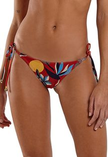 Red print Brazilian bikini bottom - BOTTOM TRIANGULO HAVANA