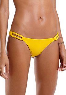 Yellow Brazilian bikini bottom with rope details - BOTTOM UBATUBA LISO AMARELO