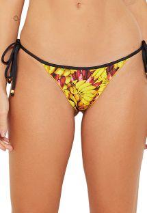Banana print Brazilian bikini bottom with black ties - BOTTOM WAVE BANANA DA TERRA
