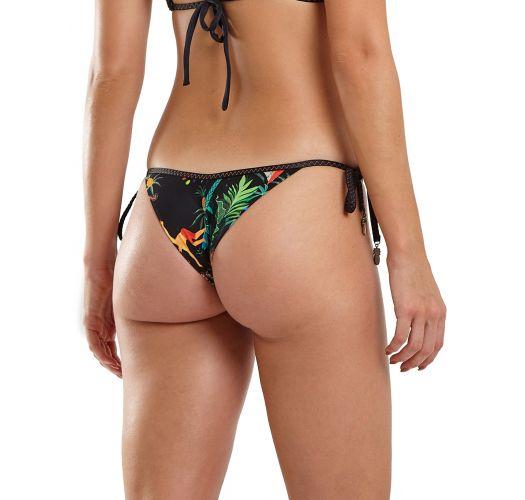 Black tropical print Brazilian bikini bottom - BOTTOM ZIG BIG RIDER