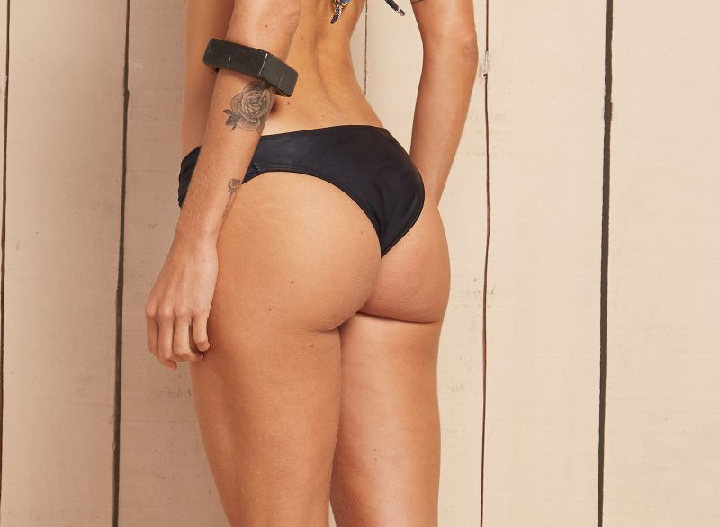 Black swimsuit tanga with wide pleated sides - CALCINHA BAIANA