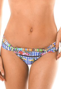 Brazilian bikini bottoms with colourful print and gold details - CALCINHA BARES AREIA