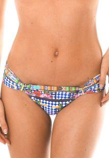 Brazilian bikini bottoms with colourful print and gold details - CALCINHA BARES AREIA