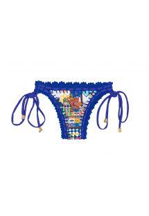 Cueca brasileira c/ padrão e viés em crochet azul - CALCINHA BARES ESTRELA