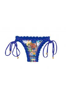 Mønstrede brasilianske bikinitrusser med hæklede blå kanter - CALCINHA BARES ESTRELA