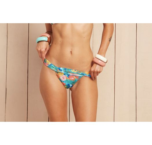 Pastel floral swimsuit tanga with pleated waistband - CALCINHA CANTO DA SEREIA
