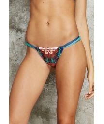Tropical print sliding swimming tanga - CALCINHA CARIBE POTI