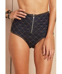 Denim high-waisted bottoms with quilted stitching - CALCINHA DAKINI