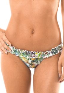 Tropical Brazilian bikini bottoms with smocked waistband - CALCINHA GARDEN PINUP