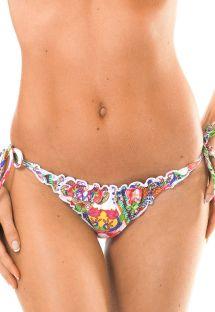Bas brésilien motifs tropicaux bords ondulés - CALCINHA GUARANA MEL