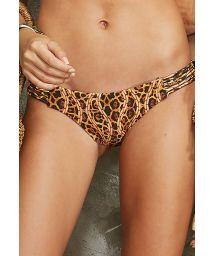 Multi-strap animal print fixed swimming bottoms - CALCINHA ILHOS SELAVAGEM