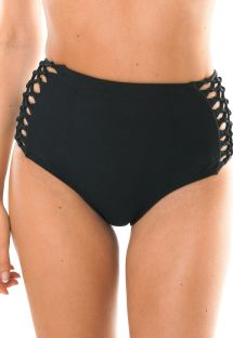 Black high-wiasted bikini bottom with macramé side detail - CALCINHA LEME HOTPANTS
