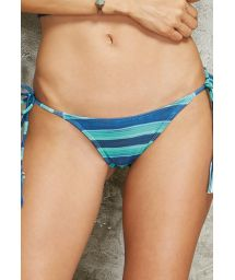 Striped blue Brazilian bottoms with pompoms - CALCINHA LINDO TAHITY