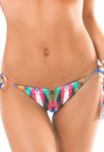 Parte baja de bikini estilo brasilero multicolor por pompones a rayas - CALCINHA MARAMBAIA LACINHO