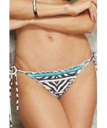 Colourful animal print Brazilian bikini bottom with scallop trim,detail - CALCINHA MEL ZEBRA