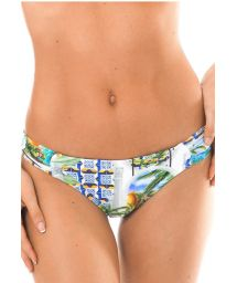 Non-adjustable Brazilian bikini bottoms with print - CALCINHA PARATY PACIFICO