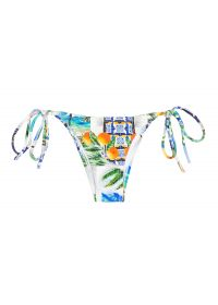 Printed Brazilian bikini bottom with side ties - CALCINHA PARATY TAHITY