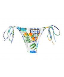 Printed Brazilian bikini bottom with side ties - CALCINHA PARATY TAHITY