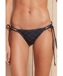 Denim cross-stitch Brazilian bikini bottoms with double side ties - CALCINHA RELEVO