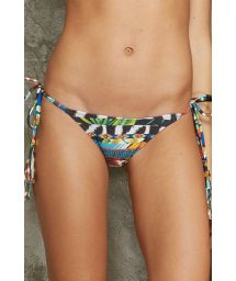 Swimsuit bottom with printed stripes and side ties - CALCINHA TAHITY MOCAMBIQUE