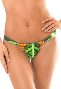 Плавки купальника в бразильском стиле на кулиске с зеленым тропическим рисунком - CALCINHA TAPAJO SUPER