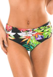 Tropical black high-waisted swimsuit bottom - CALCINHA TROPICALI LOTUS
