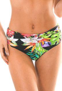 Tropical black high-waisted swimsuit bottom - CALCINHA TROPICALI LOTUS