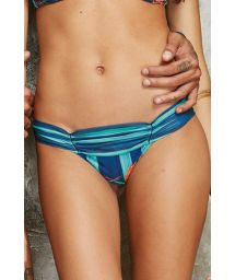 Pleated bikini bottoms with blue striped print - CALCINHA UP POTI