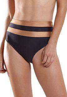 Black & copper two-tone high waist bikini bottom - BOTTOM JOY RECORTE LISO PRETO MARROM