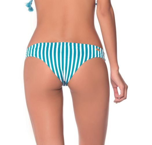 Turquoise & white fixed bikini bottom with strappy sides - BOTTOM FLORA TURQUOISE GARDEN AMERICAN