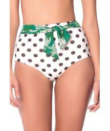 High waited bikini bottom in black polka dots with a belt - BOTTOM POLKA JUNGLE AMERICAN